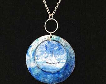 Blue ocean Jewelry, Blue ocean Necklace, Ocean blue Necklace, HandPainted Necklace, HandPainted Jewelry, Coastal Jewelry, Coastal Necklace .