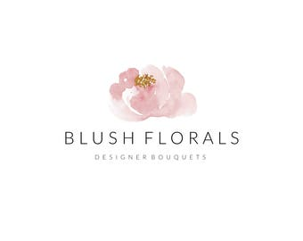 Premade Logo & Watermark - minimalist, business branding, simple stylish, photography design, custom-made, floral soft pink blossoms flower