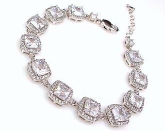 Wedding jewelry bridesmaid bridal bracelets christmas pageant Clear white square princess cushion cut cubic zirconia rhodium halo bracelet