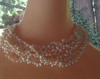 Here Comes The bride Multi Strand 7 Fresh water Pearls Elegant