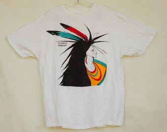 Vintage 90s Native American Indian Print T-shirt By Brothers Turquoise/Southwestern/Tribal/Hippie