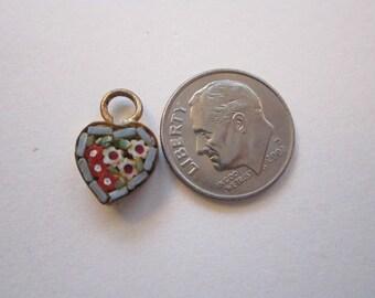 vintage micro mosaic HEART charm - reuse
