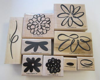 9 rubber stamps - BLOOMIN WONDERFUL - Stampin Up 2004
