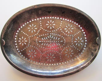 vintage silver plated tray - pierced base - insert - oval shaped silver plated tray
