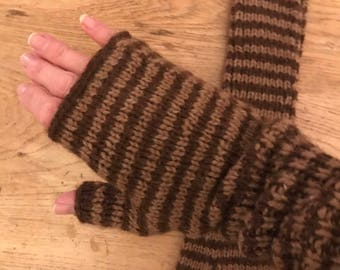 Wool Fingerless Gloves - Brown Stripe. Hand Knitted Size Medium Fall Winter Woolens Cozy Warm