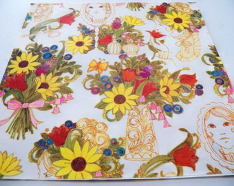 Vintage Hallmark Wrapping paper, Vintage Flower Power Gift Wrap, Two sheets, Thick paper, Flowers in vase, All occasion gift wrap, Craft