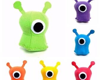 ON SALE Small one-eyed alien plush stuffed animal- Available in Green, yellow, teal, purple, orange and hot pink