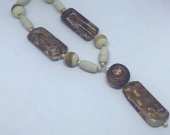 AGATE & GLASS Bead Set- 10 Handmade Lampwork Glass Beads