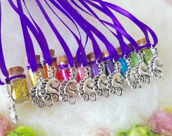 Rainbow Unicorn Party Favors,10 Necklaces Mystical Magical Fairytale Wedding Shower Party Ren Fair Festival Gathering