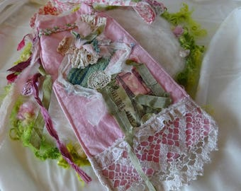 Pink Cotton Recycled Fabric Lace Ribbons and Doilies Machine and Hand Sewing Embellishments Shabby Chic Retro
