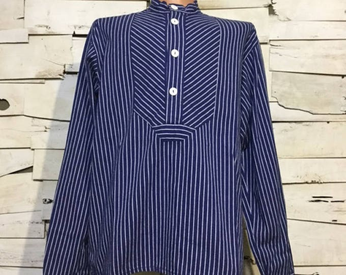 Vintage German Fisherman Striped Shirt/ Harbour Top (os-ht-2)