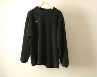 FLEECE vintage COLUMBIA hunter GREEN forest green long sleeve faded boxy sweatshirt