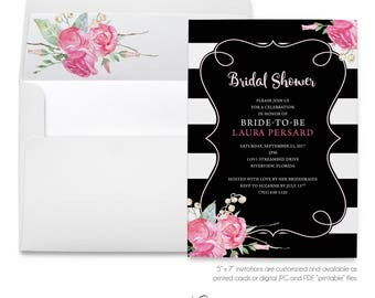 Watercolor Roses, Black White Stripes, Bridal Shower, Baby Shower, Pink Roses, Elegant Invitation, Printable Digital, Printed Invites