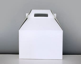 9 x 9 x 6 White Gable Gift Box Set of 24  |  Wedding Gift Box, White Wedding, Bridal Shower Gift, Bridesmaid Gift, Lunch Party Box