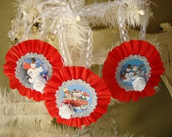 Vintage Style Christmas paper ornaments tags Red White silver glittered Christmas retro snowman party favor tags gifts for Christmas