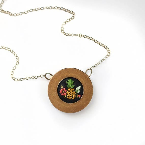 Pineapple- hand embroidered necklace, summer, flowers, floral, colorful, floral, jungle, fruit, hawaii, luau