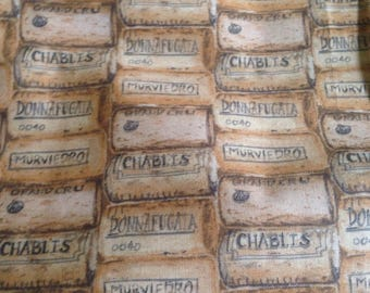 Wine Corks Print Cotton Quilting Fabric