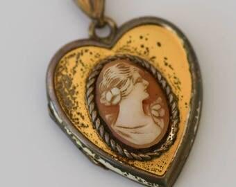 Cameo Locket, Vintage Heart Locket, Sterling Chain