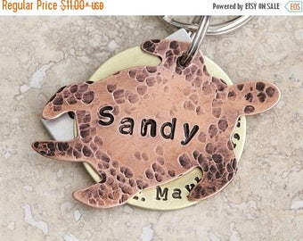 Sea Turtle / Pet ID Tag / Large Dog Tag / 3 Piece / Personalized / Customized / Copper / Brass / Aluminum / Unique / Fun / Handmade C067