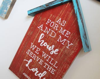 As For Me and My House Sign | Red and Turquoise Sign | Serve the Lord Sign | House Sign | Inspirational Verse Sign | Bible Verse Sign