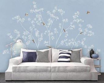 "Oriental Chinoiserie Bamboo & Birds Wallpaper Blue White Yellow Wall Mural 129.5"" x 93.7"""