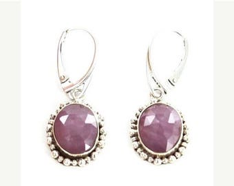 Summer Sale : ) Sapphire Sterling Silver Earrings Faceted Pink