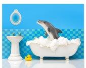 FALL SALE Bathroom decor animal art print with dolphin: Splashdown