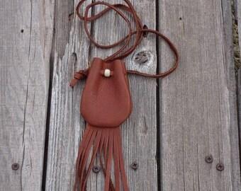 ON SALE Leather amulet bag with fringe , Leather necklace bag with fringe , Ready to ship leather medicine bag , Leather crystal bag