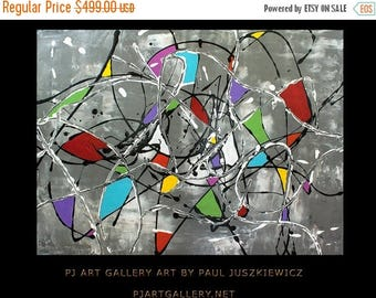 15% OFF /ONE WEEK Only/ Enormous Fantasia Ii abstract  by Pawel Juszkiewicz Huge Pollock style 48x36