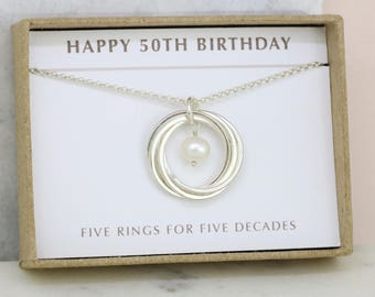 Pearl necklace, 50th birthday gift, June birthstone necklace, June birthday gift 50th - Lilia