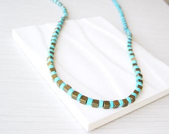 Turquoise Beaded Necklace, Brass Jewelry, Cubes, Gold Tone, Metal, Long, Simple, Modern, Metallic
