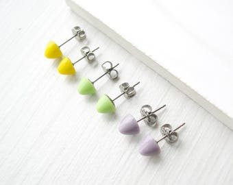 Small Gumdrop Stud Earrings, Yellow, Lilac Purple, Green Yellow, Jewelry Set, Glass Posts, Titanium, Nickel Free Jewelry