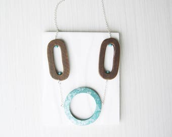 Wood Statement Necklace - 5th Anniversary Gift for Her, Turquoise, Aqua, Silver, Bold Jewelry, Artsy, Boho, Painted, Splatter