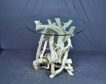 White round driftwood foyer table  SOLD