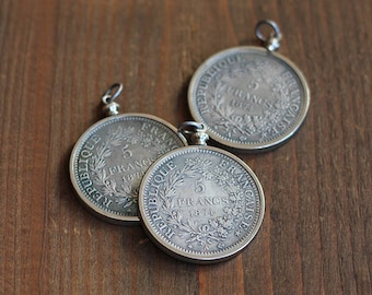 Five Francs Coin Pendant ~ Silver Setting