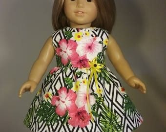 18 inch Doll Clothes Pink Hibiscus Flower Print Dress fits American Girl Doll Clothes Handmade