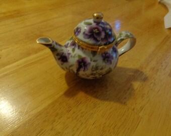 Princess Mary Anne Porcelean Mini Teapot gilt edges with pansies - trinket box - China mini teapot