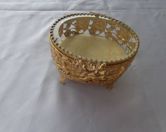 Antique bevelled glass top golden rose casket Trinket Box - Bevelled glass and beige suede type lining.  Gold Roses adorn - Great Condition