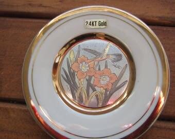 Gold Hummingbird and Flowers Ceramic Dish The Art  of Chokin 24K Gold Edged