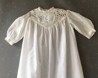 Vintage White Cotton Baptismal Gown, Baby christening dress, lace, Girls, baby dedication