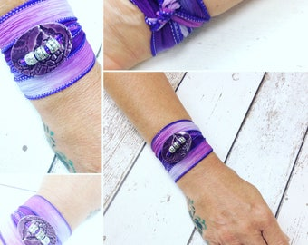 Silk wrap purple bracelet with ceamic purple button and silver tone beads