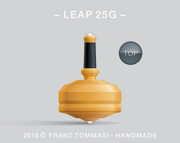 LEAP 25G Yellow – Precision handmade spin top with dual ceramic tip and integrated rubber grip