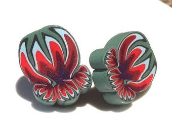 Stylized Flower Earrings . Posts . Polymer Clay . Red and Purple