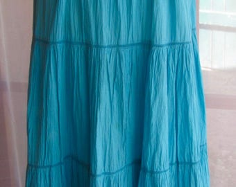 Three tiered cotton turquoise broomstick  summer skirt
