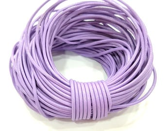 Leather Lilac Cord 1mt-3.3 ft (2mm) Round Leather Lacing G7963