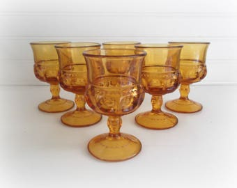 Vintage Amber Wine Glasses Kings Crown Thumbprint Small Goblets Boho Barware Bar Cart Decor Footed Cordials