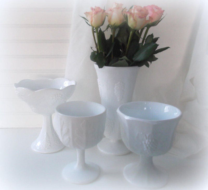 Vintage Milk Glass Vases Wedding Centerpieces Four Milk Glass