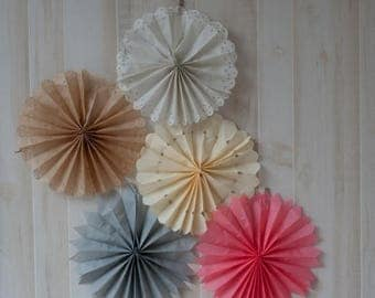 ON SALE Set of 5 Tissue Fans Rosettes Hanging Tissue Pinwheels COLORS of your Choice Medallions Party Decoration photo prop table backdrop
