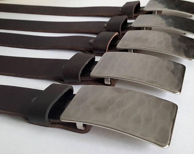 Groomsmen Gift ~ Wedding Belt & Buckle Set ~ Groom Gift ~ Groomsmen Gift ~ Wedding Keepsake ~ Hand Forged Silver Buckle w/ Leather Snap Belt