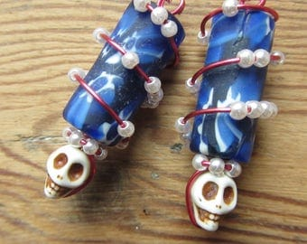Wire Wrapped Skull Earrings, Upcycled Recycled Jewelry, Punk Skull Jewelry, Dia de los Muertos Day of the Dead, African Trade Bead Earrings